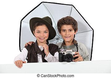 vestido, crianças, fotógrafos
