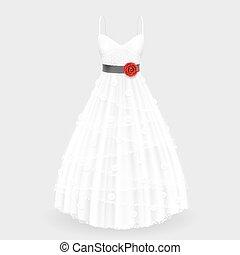 vestido de la boda, con, flor
