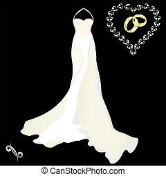 vestido de la boda, con, un, capa, en, un, blac