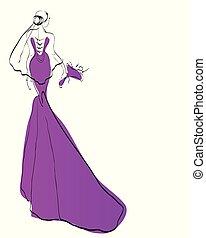 vestido de la boda, diseño, bosquejo, violeta