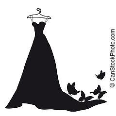 vestido de la boda, diseño, negro y blanco