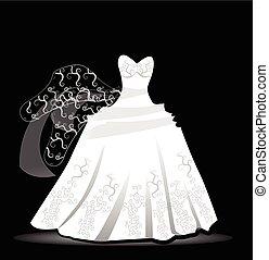 vestido de la boda, diseño, vector, logotipo