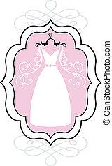 vestido de la boda, en, marco, vector