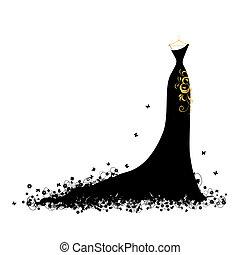vestido de noche, negro, en, perchas