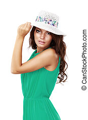 vestido de sol, mujer, sombrero verde
