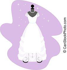 vestido, dress., na moda, mannequin., noiva, vector., casório, branca, apparel.