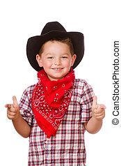 vestido, el jugar del niño, arriba, vaquero