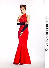 vestido, elegante, modernos, -, noiva, pretas, casório, luvas, nupcial, vermelho