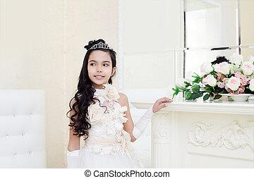 vestido, elegante, posar, menina, encantador, bronzeado, branca