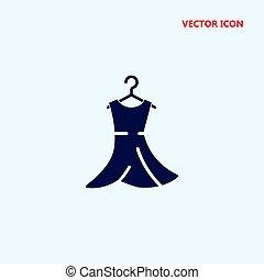 vestido, en, percha, vector, icono