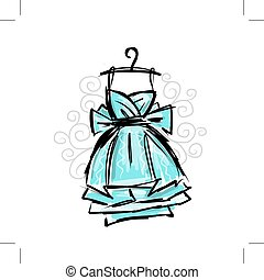 vestido, en, perchas, bosquejo, para, su, diseño