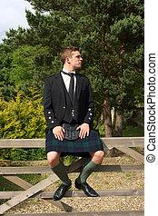 vestido, escocés, lleno, falda escocesa, uso