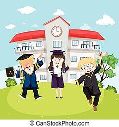 vestido, escola brinca, três, graduação