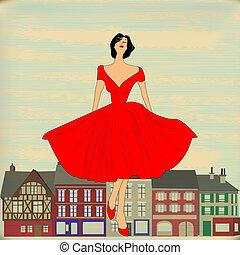 vestido, estilo, menina, feliz, vermelho, 1950's, retro