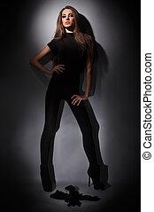 vestido, estudio, vestido, pelos, delgado, joven, largo, encanto, combi, negro, llave, oscuridad, retrato, dama
