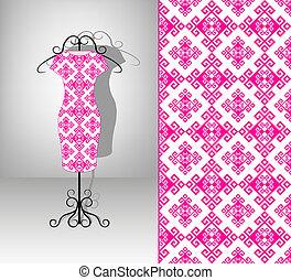 vestido, femininas, pattern., seamless, hanger.
