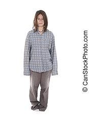 vestido, flojo, ropa, joven, sin hogar