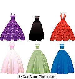 vestido formal, vestido, ícones