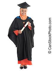 vestido, graduação, aluno feminino