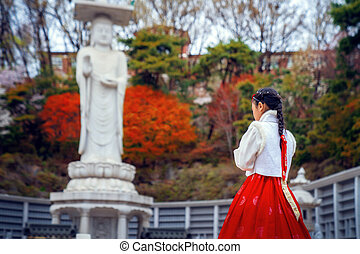 vestido, hanbok, bongeunsa, coreano, dama, templo