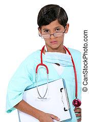 vestido, hospitalar, criança, doutor