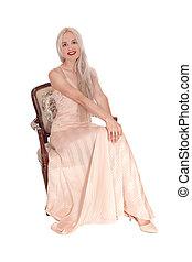 vestido, loura, cor-de-rosa, sentando, mulher, deslumbrante