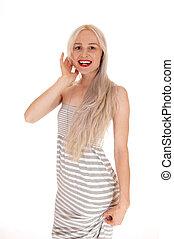 vestido, loura, mulher bonita, longo