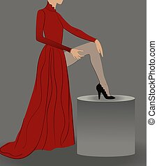 vestido, manguera, rojo, sentado, seductor, talones, postura, alto, mujer, panty