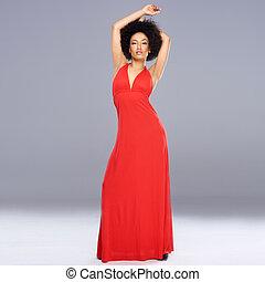 vestido, mulher, americano, africano, gracioso, vermelho