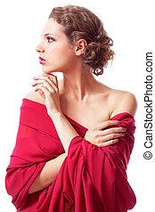 vestido, mulher bonita, vermelho, jovem