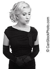vestido, mulher, foto, pretas, retro, branca