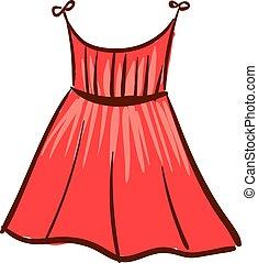 vestido, mulher, ilustração, experiência., vetorial, branco vermelho