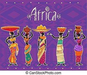 vestido, mulher, jogo, étnico, africano