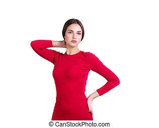 vestido, mulher, posar, jovem, vermelho