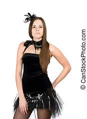 vestido, mulher, pretas, jovem, shortinho