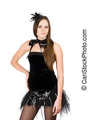 vestido, mulher, pretas, shortinho