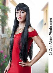 vestido, mulher, sexual, vermelho, espanhol