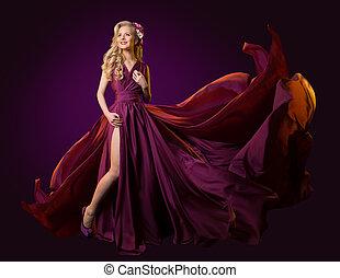 vestido, mulher, tecido, vestido, dançar, roxo, voando, longo, waving, modelo moda, vibrar, vento
