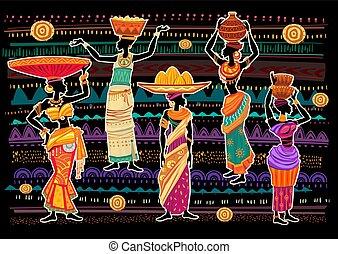 vestido, mulheres, ornamento, fundo, étnico