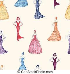 vestido, mulheres, padrão, seamless, noite
