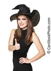 vestido negro, bruja, joven, sonriente