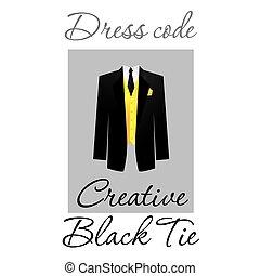 vestido, negro, código, corbata, cóctel