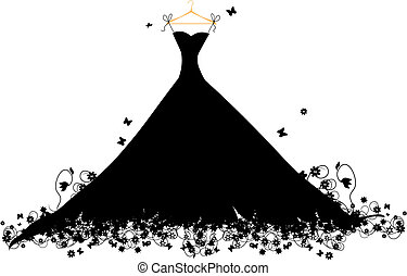 vestido, negro, en, hander, vector, ilustración