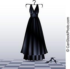 vestido negro, shoes