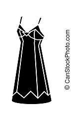 vestido negro, vector, ilustración