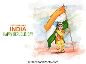 vestido, niños, república, feliz, indio, india, imaginación...