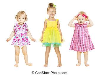 vestido, niños, viejo, grupo, encima, niñas, aislado, años, niños, tres, blanco, bebé, uno, bebé
