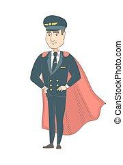 vestido, piloto, superhero., jovem, caucasiano