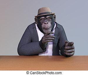 vestido, poço, chimpanzé