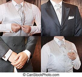 vestido, poço, homem